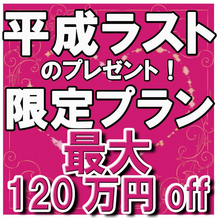最大120万円OFF!4/30まで【20大特典付】平成ラストプレゼントプラン 先着10組